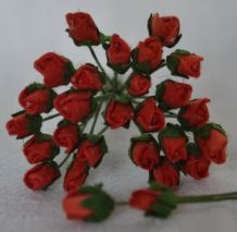 4mm RED ROSE BUDS Mulberry Paper Flowers